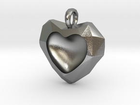 Frozen Heart Pendant in Natural Silver