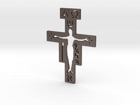 San Damiano Pendant in Polished Bronzed Silver Steel