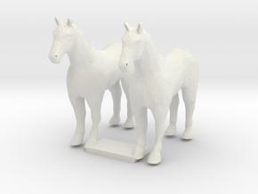 HO Scale Draft Horses in White Premium Versatile Plastic