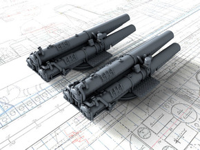 """1/600 V & W Class Destroyer Triple 21"""" Tubes x2 in Smoothest Fine Detail Plastic"""