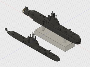 1/1250 Type 214 submarine (full hull and water lin in Smooth Fine Detail Plastic