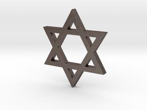 Jewish Star (Hexagram) in Polished Bronzed Silver Steel