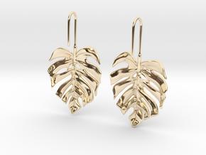 Monstera Drop Earrings in 14K Yellow Gold