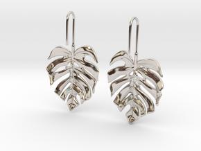 Monstera Drop Earrings in Rhodium Plated Brass