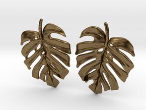 Monstera Post Earring in Natural Bronze