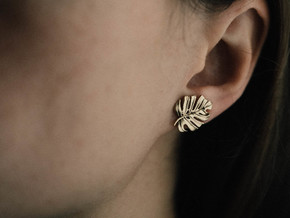 Monstera Post Earring in Natural Brass