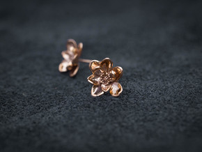 Wild Rose Earrings in Polished Bronze