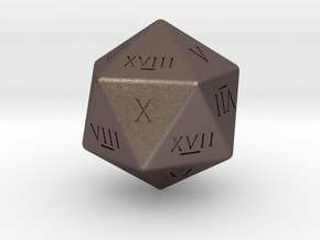 D20 - Roman Numerals in Polished Bronzed Silver Steel