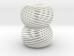 Double Spiral Torus 25/12 in White Strong & Flexible