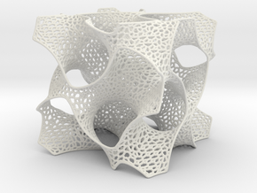Schoen's Gyroid with Organic Mesh in White Natural Versatile Plastic