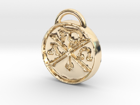Chi Rho Coin Thick Edge in 14K Yellow Gold