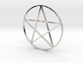 Large Pentagram (Pentacle) in Rhodium Plated Brass