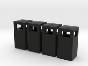 1:35th Trash bins in Black Natural Versatile Plastic