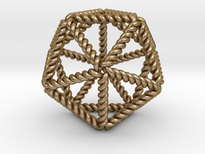 Twisted Icosahedron RH in Polished Gold Steel