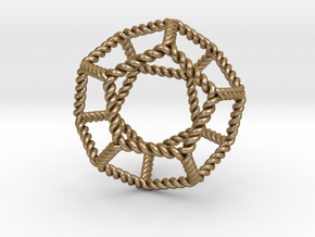 "Twisted Dodecahedron RH 2""  in Polished Gold Steel"