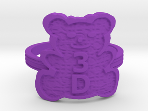 3D Magic Teddy Bear Ring in Purple Strong & Flexible Polished: 5 / 49