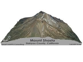 "Mount Shasta Map: 6""x6"" in Glossy Full Color Sandstone"
