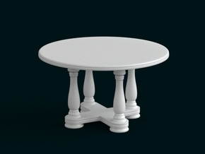 1:10 Scale Model - Table 02 in White Natural Versatile Plastic
