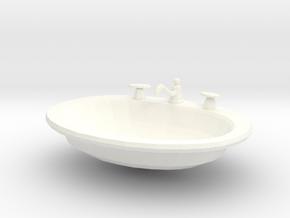 Miniature Dollhouse Drop-in Bathroom Sink in White Processed Versatile Plastic: 1:12