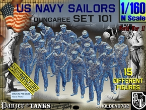 1/160 USN Dungaree Set 101 in Smooth Fine Detail Plastic