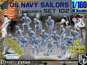 1/160 USN Dungaree Set 102 in Smooth Fine Detail Plastic