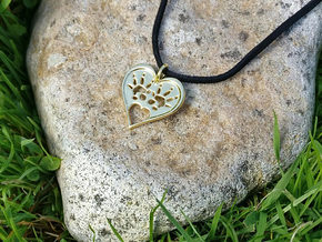 Rat Foot Print Heart Pendant in 14k Gold Plated Brass