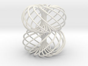 Double Spiral Torus 13/8 in White Natural Versatile Plastic