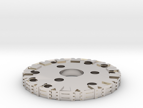 Detailed Chassis Disk in Rhodium Plated Brass