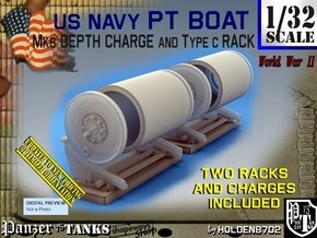 1/32 PT Boat Depth Charge w/ Rack Set001 in Smooth Fine Detail Plastic