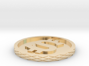 Dollar Coin - Single Material in 14k Gold Plated Brass