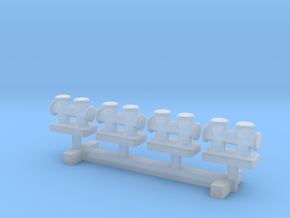 N Scale Double Mooring Bollard 4pc in Smooth Fine Detail Plastic