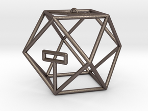 Coriolis Starport Wireframe in Polished Bronzed Silver Steel: Small