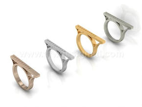 Asymmetric Bar Ring with Geometric Pyramid Pattern in Fine Detail Polished Silver: 8 / 56.75