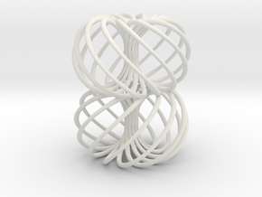Double Spiral Torus 7/12, golden ratio 2 in White Natural Versatile Plastic