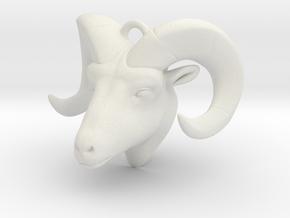 RAM head pendant (hollow) in White Natural Versatile Plastic