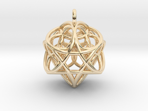 Flower of Life Fire Pendant in 14k Gold Plated Brass