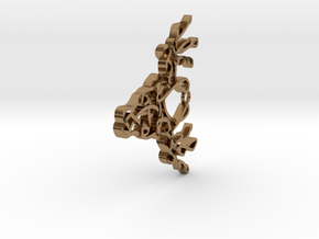 Celtic Knotted Reindeer Head Pendant/Ornament in Natural Brass