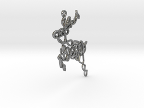 Celtic Knotted Reindeer Pendant/Ornament in Natural Silver