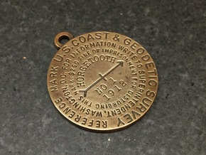 Reference Mark Keychain - early flat type in Natural Bronze