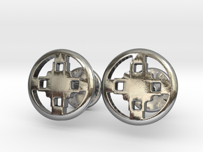 Dame Dame Adinkra Cufflinks in Polished Silver: Small