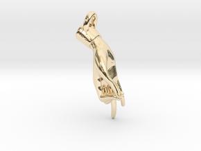 Hamsasyam Mudra Pendant/ Charm (Closed ) 2.5cm in 14k Gold Plated Brass