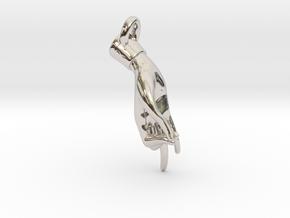 Hamsasyam Mudra Pendant/ Charm (Closed ) 2.5cm in Rhodium Plated Brass
