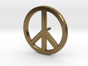 Peace Symbol Lapel Pin in Polished Bronze