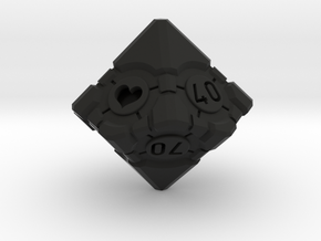 Companion Cube 10D10 (decader) - Portal Dice in Black Natural Versatile Plastic: Small