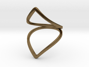 Line Flower Bend Ring in Natural Bronze: 4 / 46.5