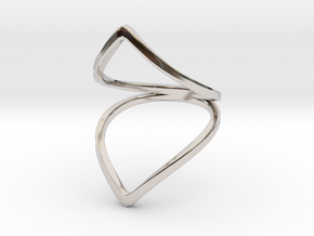 Line Flower Bend Ring in Rhodium Plated Brass: 4 / 46.5
