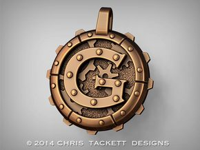 "Steampunk Monogram Pendant ""G"" in Raw Bronze"