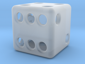 Balanced Hollow Dice (D6) (1.5cm) (Method 1) in Smooth Fine Detail Plastic