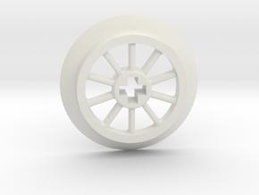 Medium Small Thin Train Wheel in White Premium Versatile Plastic
