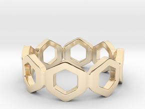 Bee Square Single Ring in 14k Gold Plated Brass: 4 / 46.5